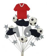 Football 16th birthday cake topper decoration red shirt - free postage